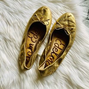 SAM EDLEMAN Felicia gold ballet flats leather 7.5